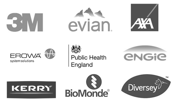3M, Evian, AXA, Erowa, Public Health England, Engie, Kerry, BioMonde, Emerson