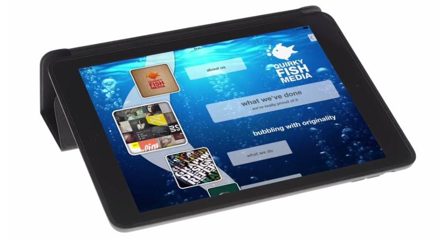 iPresent displaying animated interactive marketing collateral on iOS Apple iPad mobile device